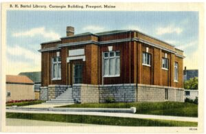Vintage postcard depicting the B.H. Bartol Library Carnegie Building in Freeport